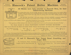 Advert For Hancock's Butter Machine